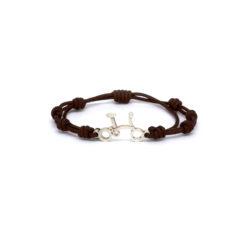 Silver bike bracelet brown macrame Mbosch Jewellers Girona