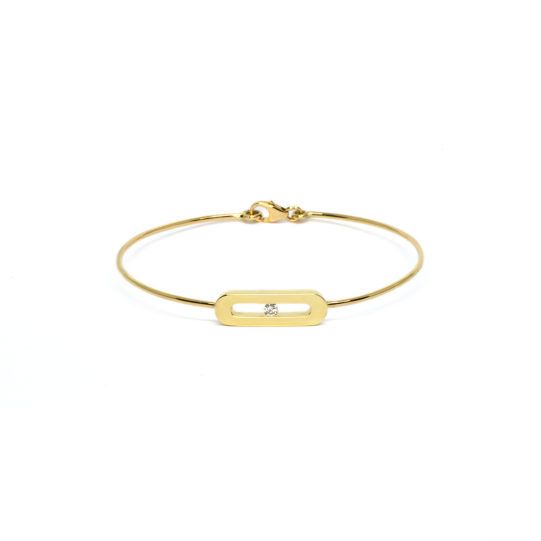 Yellow gold bracelet with a diamond