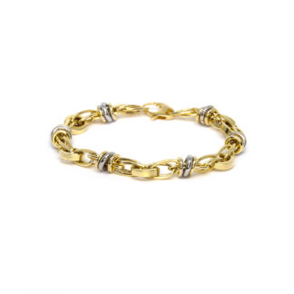 White and yellow gold bracelet 18K