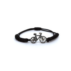 Bike bracelet-in black silver patina and black macrame